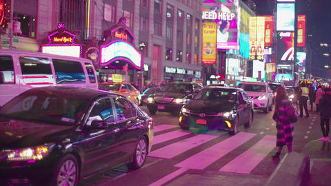 People and car in Times Square New York Footage