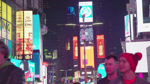 Times Square In New York City At Night, NYC, USA Footage