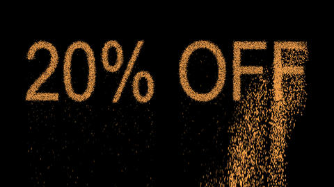 sale label 20% OFF appears from the sand, then crumbles. Alpha channel Animation