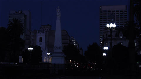 Pyramid of May at night, in the Plaza de Mayo, Buenos Aires Live Action