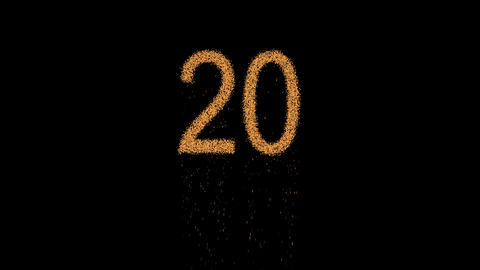 number twenty 20 appears from the sand, then crumbles. Alpha channel Animation