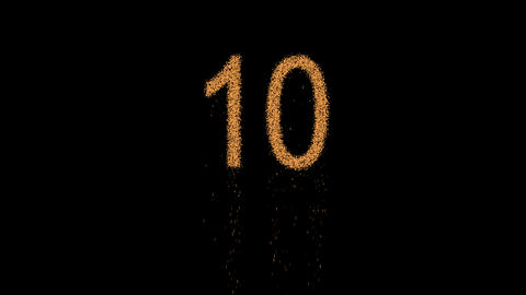 number ten 10 appears from the sand, then crumbles. Alpha channel Premultiplied Animation