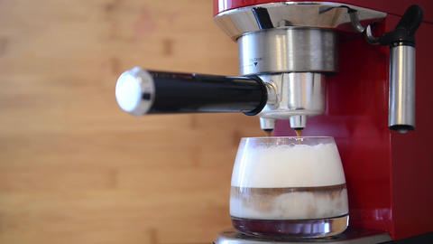 Coffee machine making cappuccino espresso coffee Footage