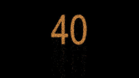 number forty 40 appears from the sand, then crumbles. Alpha channel Animation