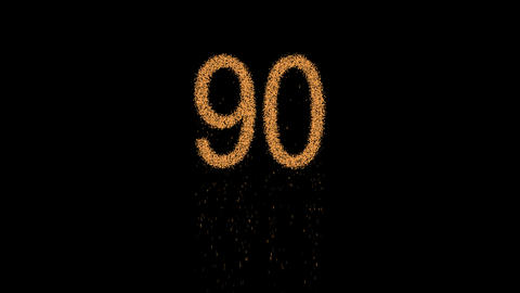 number ninety 90 appears from the sand, then crumbles. Alpha channel Animation