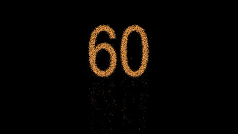 number sixty 60 appears from the sand, then crumbles. Alpha channel Animation