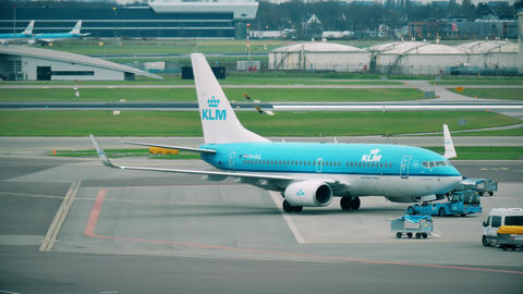 AMSTERDAM, NETHERLANDS - DECEMBER 25, 2017. KLM Boeing 737-7K2 airliner being Footage