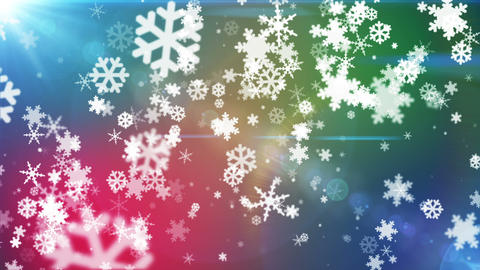 Broadcast Snow Flakes, Multi Color, Events, Loopable, HD Animation