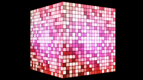 Broadcast Hi-Tech Twinkling Spinning Cube, Magenta Red, Corporate, Alpha, Loopable, HD Animation