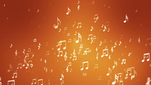 Broadcast Rising Music Notes, Orange, Events, Loopable, HD Animation