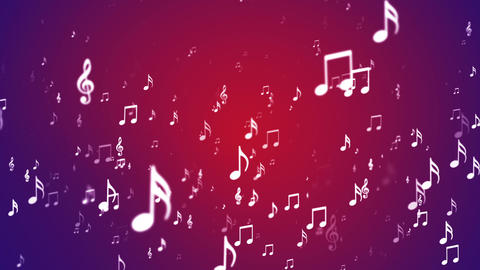 Broadcast Rising Music Notes, Red Purple, Events, Loopable, HD Animation