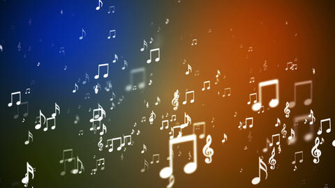 Broadcast Rising Music Notes, Multi Color, Events, Loopable, HD Animation