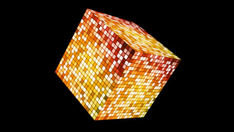 Broadcast Hi-Tech Twinkling Spinning Cube, Yellow, Corporate, Alpha, Loop, HD Animation