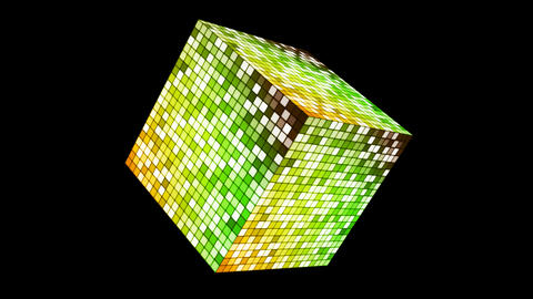 Broadcast Hi-Tech Twinkling Spinning Cube, Green Yellow, Corporate, Alpha, Loop, Animation
