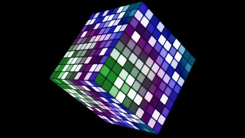 Broadcast Hi-Tech Twinkling Spinning Cube, Multi Color, Corporate,Alpha,Loop,HD Animation