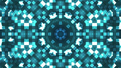 Broadcast Firey Light Hi-Tech Squares Kaleidoscope, Cyan Blue, Abstract, Animation