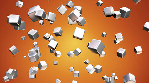 Broadcast Falling Hi-Tech Cubes, Orange Golden, Corporate, Loopable, HD Animation