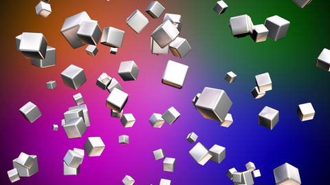 Broadcast Falling Hi-Tech Cubes, Multi Color, Corporate, Loopable, HD Animation
