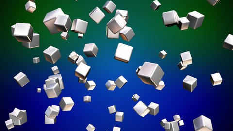 Broadcast Falling Hi-Tech Cubes, Green Blue, Corporate, Loopable, HD Animation