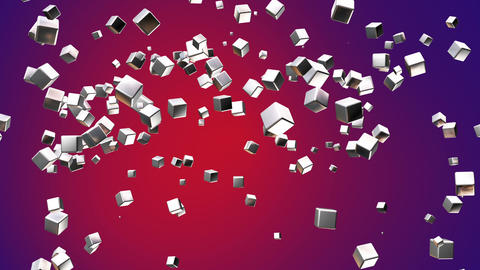Broadcast Flying Hi-Tech Cubes, Red Purple, Corporate, Loopable, HD Animation
