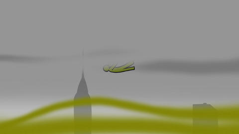 Falling into smoggy city scape Animation