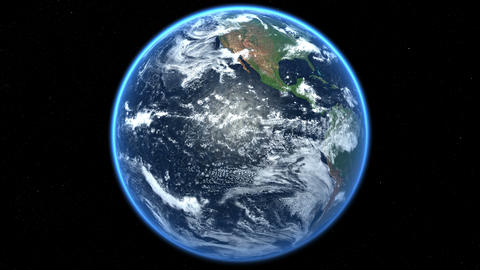 Earth globe spinning, rotating. Realistic sun light. 360° Loop Animation