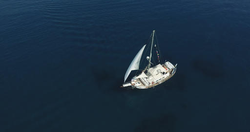 Sail Boat Set Sail In Open Sea Live Action