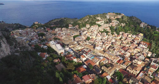 Landscape By Village Taormina With Old Houses, Italy Footage
