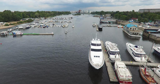 Harbor With Luxury Yachts In The Bay Footage
