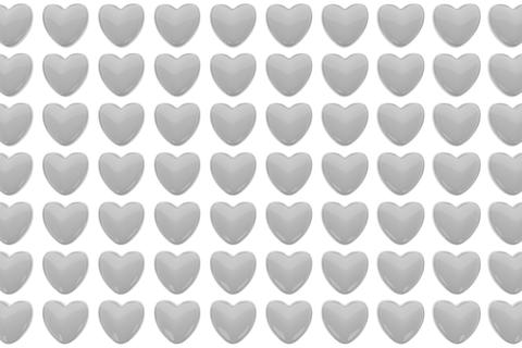 Pattern of 3D hearts isolated on white background フォト