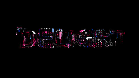 Letters are collected in text DELIGHT, then scattered into strips. Bright Animation