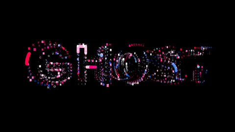 Letters are collected in text GHOST, then scattered into strips. Bright colors Animation