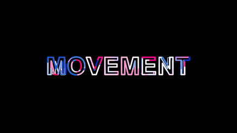 Letters are collected in text MOVEMENT, then scattered into strips. Bright Animation