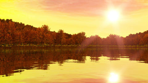Sunrise near the lake and forest. Rewind for sunset. 3d render, 3d animation 画像