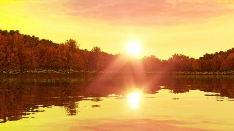 Sunrise near the lake and forest. Rewind for sunset. 3d render, 3d animation Animation