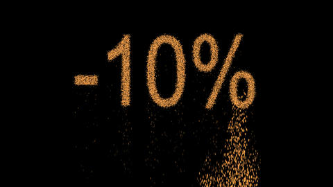 sale label -10% appears from the sand, then crumbles. Alpha channel Animación
