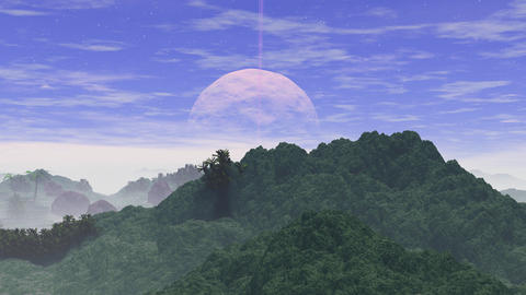 3D animation of fantasy planet, mountains, river and moon GIF