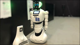 robot flashes eyes in the exhibition hall Footage