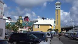 Bahamas New Providence island Nassau yellow cruise terminal building Footage