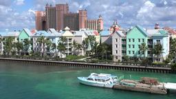 Bahamas Nassau Paradise Island waterfront colorful houses near Atlantis Bridge Footage