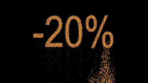 sale label -20% appears from the sand, then crumbles. Alpha channel Animation