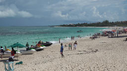 Bahamas Nassau Paradise Island Cabbage Beach with jet skies at the shore Image
