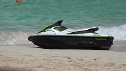Bahamas Nassau Paradise Island Cabbage Beach Jet Ski tilts in waves Footage