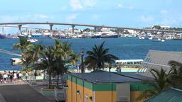 Bahamas Nassau Sir Sydney Poitier / Atlantis Bridge seen from cruise port Footage