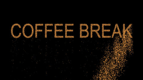 text COFFEE BREAK appears from the sand, then crumbles. Alpha channel Animation