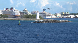 Bahamas Nassau last view back to the cruise port and the lighthouse Image