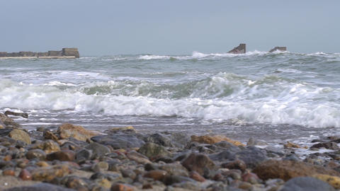Storm on the ocean coast Footage