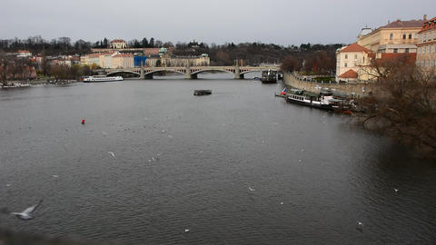 View of a Vltava river in Prague city Footage