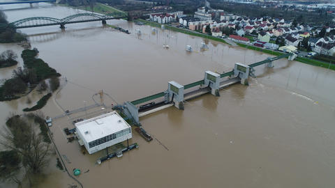 Flooded river banks and water lock at Main River, Germany after heavy rainfall - Footage
