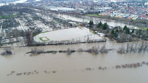 Flooded river banks at Rhine River and Main River Footage